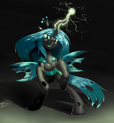 Size: 2500x2700   Tagged: safe, artist:renatethepony, queen chrysalis, changeling, changeling queen, drool, electricity, fangs, female, magic, open mouth, rearing, solo, tongue out