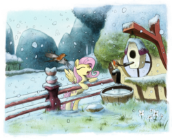 Size: 800x644   Tagged: safe, artist:hewison, fluttershy, bird, bipedal leaning, female, fence, fluttershy's cottage, hat, robin, singing, snow, snowfall, solo, winter