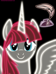 Size: 3800x4999 | Tagged: safe, artist:zantyarz, oc, oc only, oc:fausticorn, alicorn, pony, alicorn oc, black background, cute, faustabetes, lauren faust, neon, simple background, smiling