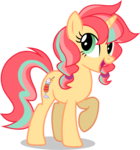 Size: 660x705 | Tagged: artist:sunbusting, looking at you, oc, oc:citrus sorbet, oc only, raised hoof, safe, simple background, smiling, solo, transparent background
