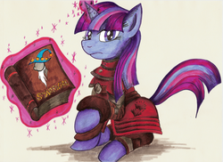 Size: 1024x745 | Tagged: safe, artist:jamescorck, twilight sparkle, book, brotherhood of steel, clothes, fallout, glowing horn, looking at you, scribe, solo