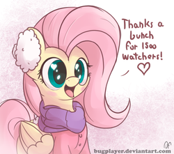 Size: 2600x2300   Tagged: safe, artist:bugplayer, fluttershy, pegasus, pony, blushing, bugplayer is trying to murder us, clothes, coat, cute, earmuffs, female, followers, happy, heart eyes, mare, milestone, scarf, shyabetes, solo, wingding eyes, winter