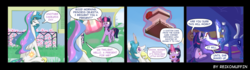 Size: 2067x579 | Tagged: safe, artist:reikomuffin, princess celestia, princess luna, twilight sparkle, alicorn, pony, anvil, broken english, cake, cakelestia, comic, dream, dream walker luna, female, food, glowing hooves, glowing horn, horseshoes, knocked silly, magic, mare, on back, open mouth, present, telekinesis, trolluna, twilight sparkle (alicorn), unconscious