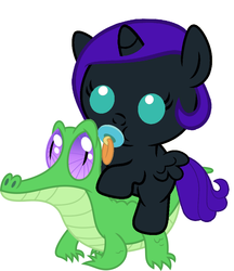 Size: 836x967 | Tagged: safe, artist:red4567, gummy, oc, oc:nyx, alicorn, pony, alicorn oc, baby, baby pony, cute, nyx riding gummy, nyxabetes, pacifier, ponies riding gators, recolor, riding, simple background, weapons-grade cute, white background