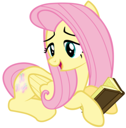 Size: 7000x7100 | Tagged: safe, artist:tardifice, fluttershy, the hooffields and mccolts, absurd resolution, book, booty call, female, glowing cutie mark, prone, simple background, solo, transparent background, vector