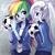 Size: 700x700   Tagged: safe, artist:weiliy, rainbow dash, trixie, equestria girls, breath, cute, dashabetes, diatrixes, football, ponytail