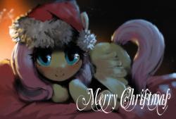 Size: 791x536 | Tagged: safe, artist:ciyunhe, fluttershy, pegasus, pony, christmas, cute, female, hat, santa hat, shyabetes, solo