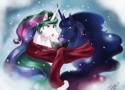 Size: 1024x734 | Tagged: safe, artist:miidniightsuun, princess celestia, princess luna, alicorn, horse, breath, bust, clothes, duo, female, horns are touching, horsified, mare, portrait, realistic, scarf, sisters, snow, snowfall