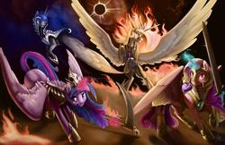 Size: 3000x1941 | Tagged: safe, artist:silfoe, nightmare moon, nightmare star, princess cadance, princess celestia, princess luna, twilight sparkle, alicorn, pony, alicorn tetrarchy, armor, badass, book of revelation, eclipse, epic, equestria is doomed, female, fire, four horsemen of the apocalypse, horseman of conquest, horseman of death, horseman of famine, horseman of war, magic, mare, nightmare cadance, nightmare twilight, nightmarified, oh crap, quartet, rearing, scythe, sword, telekinesis, twilight sparkle (alicorn), warrior cadance, warrior celestia, warrior luna, warrior twilight sparkle, weapon, xk-class end-of-the-world scenario