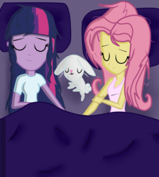 Size: 820x916 | Tagged: safe, artist:noahther, angel bunny, fluttershy, sci-twi, twilight sparkle, equestria girls, bed, clothes, female, lesbian, scitwishy, shipping, sleeping, tanktop, twilight sparkle (alicorn), twishy