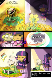 Size: 1024x1536 | Tagged: safe, artist:daughter-of-fantasy, twilight sparkle, human, :|, =~=, asriel dreemurr, comic, crossover, dialogue, dragging, flowey, friendship, frisk, frown, glare, glowing eyes, good end, grin, horn wand, humanized, magic, open mouth, pulling, shivering, smiling, smirk, spoilers for another series, sweat, twilight friskle, undertale, wand, wide eyes