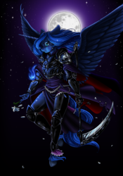 Size: 3503x5000 | Tagged: safe, artist:longinius, princess luna, alicorn, anthro, unguligrade anthro, armor, crying, epic, female, flower, moon, night, scythe, solo, warrior luna