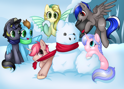 Size: 3498x2502 | Tagged: safe, artist:kinga, oc, oc only, oc:bassy, oc:gliding, oc:intrepid charm, oc:ocean pixel, oc:silver thread, oc:truenugget, aquapony, pegasus, pony, unicorn, female, group pic, male, playing, seapegasus, snow, snowpony, winter