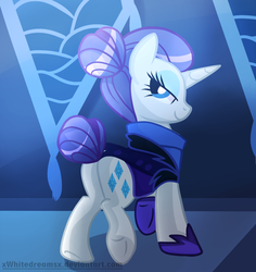 Size: 1175x1244 | Tagged: safe, artist:xwhitedreamsx, rarity, pony, unicorn, the cutie re-mark, alternate timeline, bedroom eyes, clothes, female, looking at you, mare, night maid rarity, nightmare takeover timeline, plot, smiling, solo, underhoof