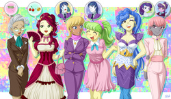 Size: 1722x1000 | Tagged: safe, artist:uotapo, alumnus shining armor, cherry jubilee, chickadee, mayor mare, ms. harshwhinny, ms. peachbottom, prim hemline, rarity, sapphire shores, shining armor, suri polomare, equestria girls, abstract background, beauty mark, cleavage, clothes, colored pupils, cougar, crying, crying armor, dress, earring, equestria girls-ified, eyes closed, fan, female, glasses, money, piercing, purse, sad, sad armor, speech bubble, thought bubble, whining, whining armor, wink