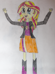 Size: 510x691 | Tagged: artist:hakdurbin, christian sunset shimmer, crying, equestria girls, humanized, safe, sunset shimmer, tears of joy, traditional art