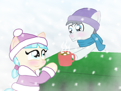 Size: 1024x768 | Tagged: artist:crazynutbob, chocolate, clothes, coco pommel, cocoshill, colt, cute, female, filly, food, hat, hot chocolate, jacket, male, safe, scarf, shipping, silver shill, snow, snowfall, straight, younger