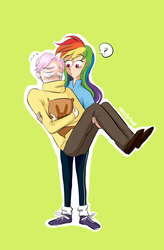 Size: 708x1077 | Tagged: safe, artist:mintyhap, fluttershy, rainbow dash, human, butterdash, butterscotch, carrying, clothes, female, half r63 shipping, humanized, male, rule 63, shipping, straight, sweater, sweatershy, turtleneck