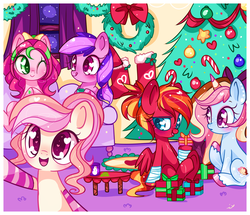 Size: 1024x881   Tagged: safe, artist:ipun, oc, oc only, oc:cuddle bug, oc:fire strike, oc:neigh-apolitan, oc:precious metal, earth pony, pegasus, pony, unicorn, blushing, bow, christmas, christmas stocking, christmas tree, clothes, female, hair bow, heart, heart eyes, holiday, mare, night, one eye closed, ponytail, present, smiling, socks, stars, striped socks, tongue out, tree, wingding eyes, wink