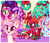 Size: 1024x881 | Tagged: artist:ipun, blushing, bow, christmas, christmas stocking, christmas tree, clothes, earth pony, female, hair bow, heart, heart eyes, holiday, mare, night, oc, oc:cuddle bug, oc:fire strike, oc:neigh-apolitan, oc only, oc:precious metal, one eye closed, pegasus, pony, ponytail, present, safe, smiling, socks, stars, striped socks, tongue out, tree, unicorn, wingding eyes, wink