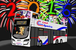 Size: 1024x670 | Tagged: safe, artist:infinityr319, applejack, fluttershy, pinkie pie, rainbow dash, rarity, twilight sparkle, 2016, bus, champagne, double decker bus, fireworks, happy new year, happy new year 2016, mane six, new year, volvo, volvo b9tl, wright eclipse gemini, wrightbus