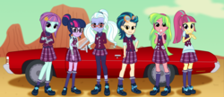 Size: 2540x1100 | Tagged: adoraflare, artist:bootsyslickmane, car, chevrolet, chevrolet impala, clothes, cloud, crystal prep academy uniform, crystal prep shadowbolts, cute, desert, equestria girls, fanfic, fanfic art, friendship games, glasses, goggles, headphones, high heels, indigo zap, leggings, lemon zest, looking at you, pigtails, ponytail, safe, school uniform, sci-twi, shadowbolts, shadow five, shadow six, shoes, skirt, smiling, socks, sourbetes, sour sweet, sugarcoat, sugarcute, sunny flare, twiabetes, twilight sparkle, zapabetes, zestabetes