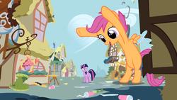 Size: 1366x768 | Tagged: safe, artist:tacky122, scootaloo, twilight sparkle, pony, bipedal, giant pony, giantess, macro, ponyville