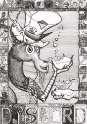 Size: 2000x2837 | Tagged: safe, artist:konsumo, discord, alice in wonderland, black and white, bust, grayscale, hat, mad hatter, mad hatter hat, monochrome, solo, top hat, traditional art