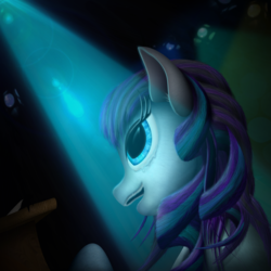 Size: 2000x2000 | Tagged: safe, artist:konsumo, coloratura, ponyville mystery, singing, solo, stage