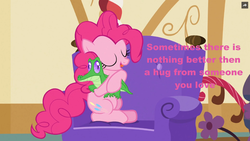 Size: 1200x675 | Tagged: safe, gummy, pinkie pie, just for sidekicks, caption, cute, hug, love, pink text, sweet, truth