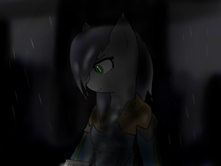 Size: 1600x1200 | Tagged: safe, artist:eclipsepenumbra, oc, oc only, oc:eclipse penumbra, bat pony, pony, fallout equestria, bulletproof vest, clothes, dark, female, green eyes, hair over one eye, numbers, rain, wet mane