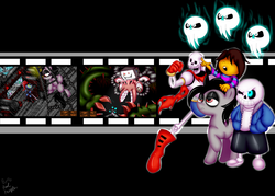 Size: 1280x914 | Tagged: safe, artist:paulpeopless, oc, oc:paulpeoples, crossover, frisk, group, papyrus, papyrus (undertale), sans (undertale), spoilers for another series, undertale