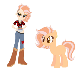 Size: 719x630 | Tagged: safe, artist:iesbeans, oc, oc only, oc:sunrise spark, equestria girls, equestria girls-ified, human ponidox, humanized, magical lesbian spawn, offspring, parent:applejack, parent:sunset shimmer, parents:appleshimmer, piercing, simple background, white background