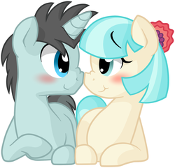 Size: 1771x1707 | Tagged: safe, artist:furrgroup, coco pommel, neon lights, rising star, earth pony, pony, unicorn, blushing, boop, cocolights, crack shipping, cute, eye contact, female, male, mare, nose wrinkle, noseboop, prone, shipping, simple background, smiling, stallion, straight, white background