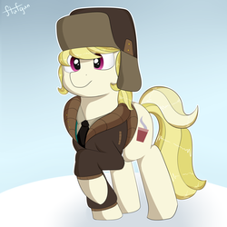 Size: 1280x1280   Tagged: safe, artist:flufgun, march gustysnows, clothes, coat, hat, solo, ushanka