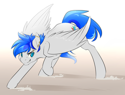 Size: 2100x1600 | Tagged: safe, artist:duskyamore, oc, oc only, oc:turquoise, pegasus, pony, action pose, bridge piercing, determined, dirt, dust, ear piercing, eyebrow piercing, gauges, piercing, solo