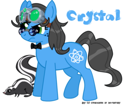Size: 841x700 | Tagged: safe, artist:nightspeller, oc, oc only, oc:crystal quartz, pony, skunk, unicorn, animal, atom, bowtie, cutie mark, female, freckles, glasses, goggles, pet, pet oc, pince-nez