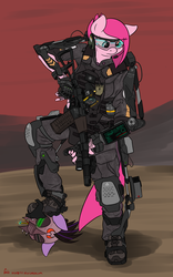 Size: 2493x4000 | Tagged: alternate timeline, anthro, apinkalypse pie, armor, artist:orang111, assault rifle, as val, badass, call of duty, call of duty advanced warfare, crystal war timeline, elcan, exosuit, gun, hud, pinkamena diane pie, pinkie pie, pinkie sad, plantigrade anthro, powered exoskeleton, rifle, russian, safe, sombra soldier, the cutie re-mark, weapon