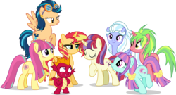 Size: 5000x2695 | Tagged: safe, artist:xebck, garble, indigo zap, lemon zest, moondancer, sour sweet, sugarcoat, sunny flare, sunset shimmer, alicorn, earth pony, pegasus, pony, unicorn, equestria girls, friendship games, the cutie re-mark, absurd resolution, age regression, alicornified, alternate hairstyle, alternate universe, cute, duckery in the comments, equestria girls ponified, ponified, race swap, role reversal, shadow five, shimmercorn, simple background, transparent background, vector