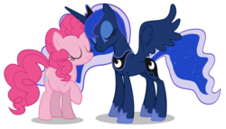 Size: 5071x2893 | Tagged: artist:lunarmarex, eyes closed, female, lesbian, lunapie, pinkie pie, princess luna, safe, shipping, simple background, transparent background, vector
