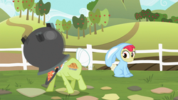 Size: 1366x768 | Tagged: safe, screencap, apple bloom, granny smith, family appreciation day, bunny bloom, bunny costume, cauldron, clothes