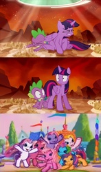 Size: 635x1080   Tagged: safe, cheerilee (g3), pinkie pie (g3), rainbow dash (g3), scootaloo (g3), spike, starsong, sweetie belle (g3), toola roola, twilight sparkle, alicorn, pony, g3, the cutie re-mark, core seven, exploitable meme, female, mare, meme, toola-roola, twilight sees the future, twilight sparkle (alicorn)