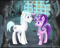Size: 1250x1000 | Tagged: safe, artist:swanlullaby, double diamond, starlight glimmer, the cutie map, cutie mark vault, equal cutie mark, equalized, glimmerdiamond, shipping