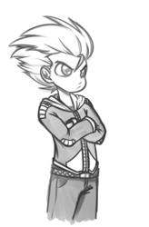 Size: 550x839 | Tagged: dead source, safe, artist:reiduran, spike, human, crossed arms, frown, grayscale, humanized, monochrome, simple background, solo, unamused, white background
