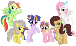 Size: 1023x614 | Tagged: artist:prinnyaniki, hybrid, interspecies offspring, oc, oc:fiji appleoak, oc:lillie de thea, oc only, oc:peggy pie, oc:ricotta pegmatite pie, oc:seyes, oc:sunlight dancer, oc:twilight hellen licht, offspring, parent:applejack, parent:cheese sandwich, parent:discord, parent:fancypants, parent:flash sentry, parent:fluttershy, parent:oc:niku, parent:pinkie pie, parent:rainbow dash, parent:rarity, parents:canon x oc, parents:cheesepie, parents:discoshy, parents:flashlight, parent:soarin', parents:raripants, parents:soarindash, parent:twilight sparkle, safe