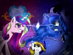 Size: 1600x1200 | Tagged: safe, artist:scarlett-letter, princess cadance, princess luna, oc, magic duel, angry, eye contact, fight, glare, gritted teeth, magic, stare, sweat, this will end in tears, wide eyes