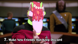 Size: 1280x720 | Tagged: artist:klystron2010, bad end, facehugger, human, irl, irl human, jean-luc picard, make new friends but keep discord, photo, ponies in real life, safe, season 5 in 55 seconds, star trek, star trek: the next generation, tree hugger, william riker, worf, youtube link