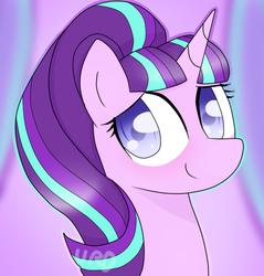 Size: 573x600 | Tagged: safe, artist:ultrard, starlight glimmer, pony, unicorn, bust, colored pupils, cute, female, glimmerbetes, looking at you, mare, portrait, signature, smiling, solo