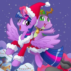 Size: 1080x1080 | Tagged: safe, artist:agnesgarbowska, spike, twilight sparkle, alicorn, pony, christmas, clothes, cute, female, hat, mare, reindeer antlers, santa costume, santa hat, snow, snowfall, twilight sparkle (alicorn)