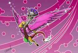 Size: 3243x2223 | Tagged: safe, artist:quynzel, discord, twilight's kingdom, crown, eris, princess discord, rule 63, solo, wings